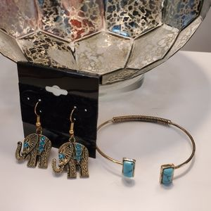 Elephant Earrings and Turquoise Bracelet Set